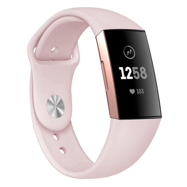 Marke 123watches Fitbit Charge 3 & 4 Sport Silikonband - rosa Sand
