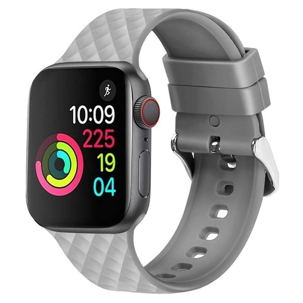123Watches Apple watch rhombic silicone band - grau