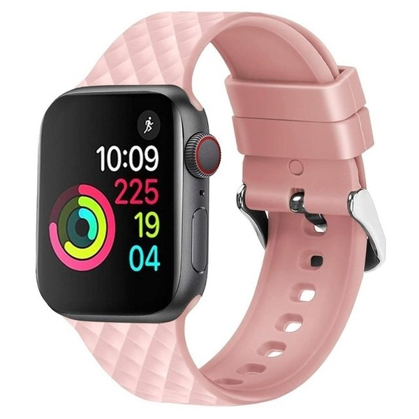 123Watches Apple watch rhombic silicone band - rosa Sand