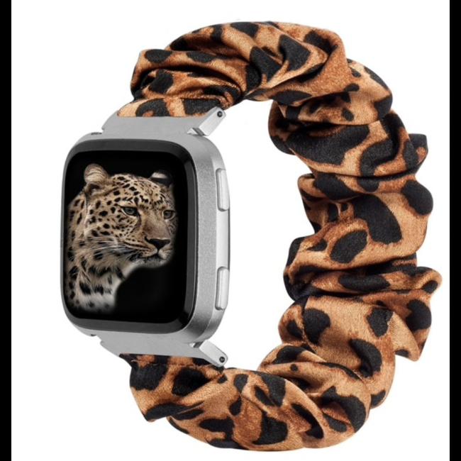 Marke 123watches Fitbit Versa Scrunchie Band - Panther braun