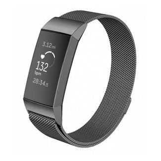 Marke 123watches Fitbit charge 3 & 4 milanese band - gun schwarz