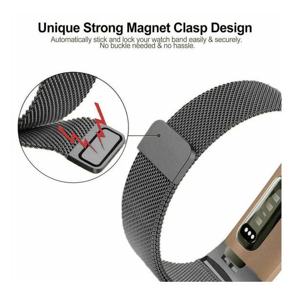 123Watches Fitbit charge 3 & 4 milanese band - gun schwarz