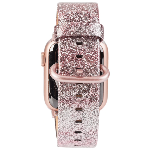 123Watches Apple Watch Leder Glitzer Riemen - pink