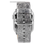123Watches Apple Watch Leder Glitzer Riemen - Silber