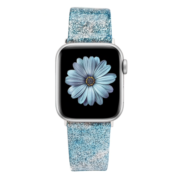 123Watches Apple Watch Leder Glitzer Riemen - blau