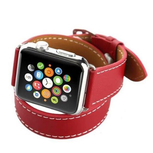 123Watches Apple watch leder lange schleife band - rot