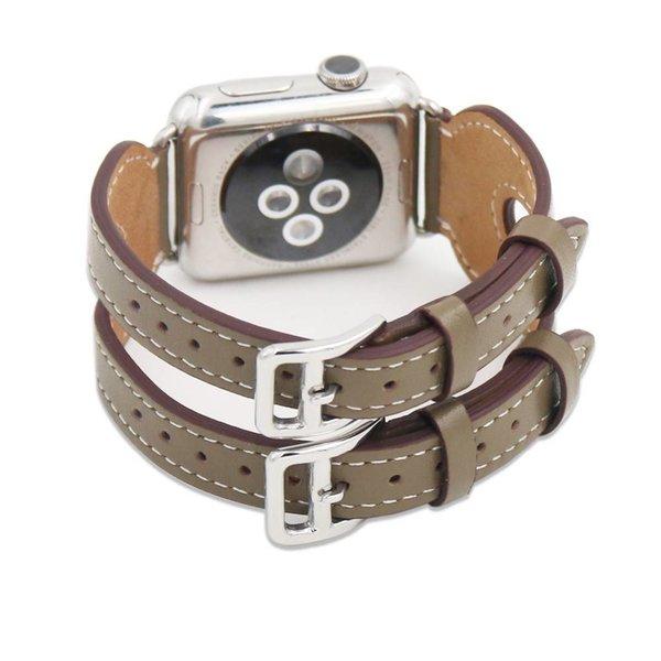123Watches Apple watch leder doppelschnallen belts - beige