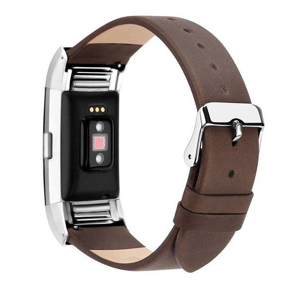 123Watches Fitbit charge 2 basic lederarmband - dunkelbraun