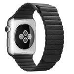 123Watches Apple Watch PU leder rippe band - schwarz