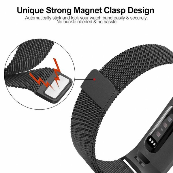 123Watches Fitbit charge 3  & 4milanese band - schwarz