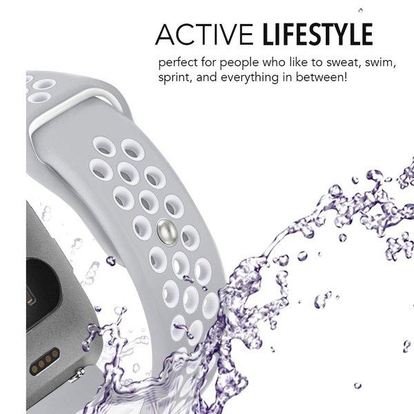 123Watches Fitbit versa doppelt sport band - grau weiß