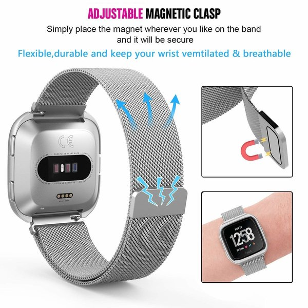 123Watches Fitbit versa milanese case band - silber