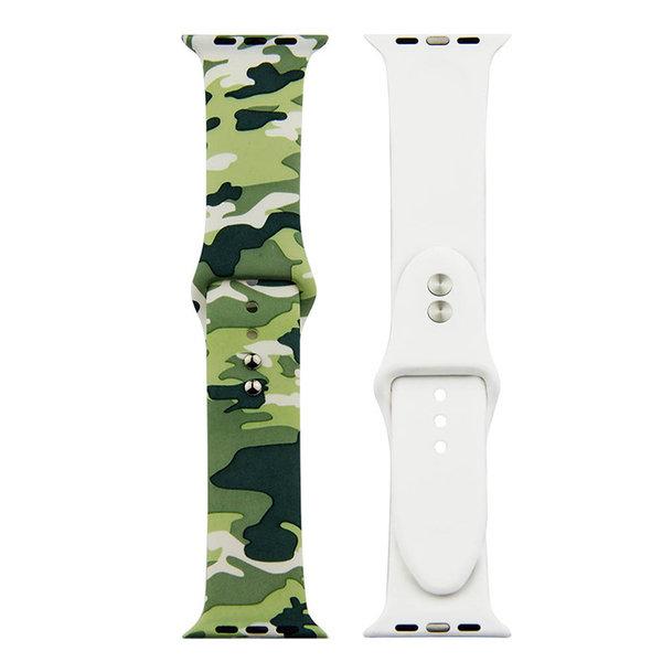 123Watches Apple Watch Print Sportband - Tarnung grün