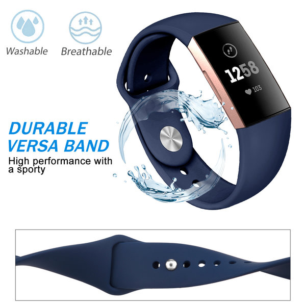123Watches Fitbit Charge 3 & 4 Sport Silikonband - dunkelblau
