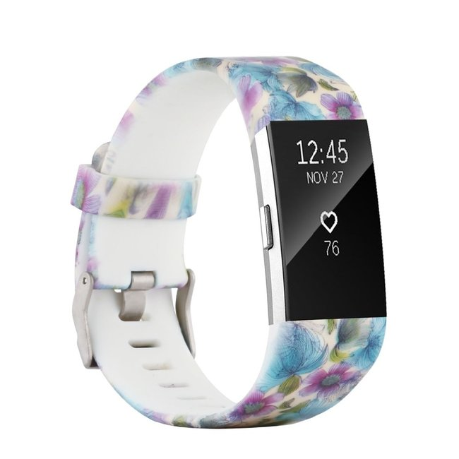 Marke 123watches Fitbit charge 2 print sport band - blaue Blume