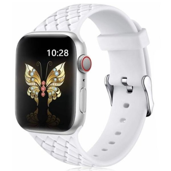 123Watches Apple watch woven silicone band - weiß