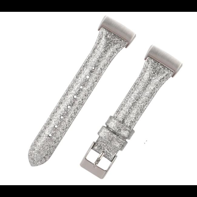 Marke 123watches Fitbit Charge 3 & 4 Leder Glitzer Riemen - Silber