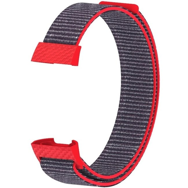 Marke 123watches Fitbit charge 3 & 4 nylon sport band - Leuchtend rosa