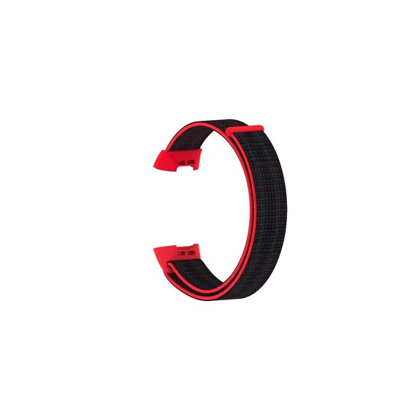 123Watches Fitbit charge 3 & 4 nylon sport band - rot schwarz