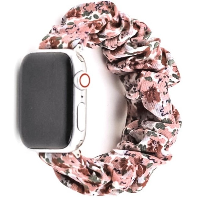 Marke 123watches Apple Watch Scrunchie Band - Blumen rosa