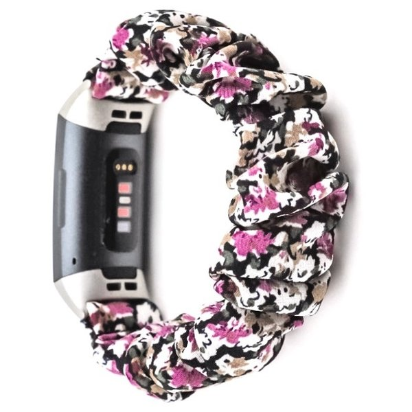123Watches Fitbit Charge 3 & 4 Scrunchie Band - Blumen lila