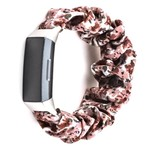 123Watches Fitbit Charge 3 & 4 Scrunchie Band - Blumen rosa