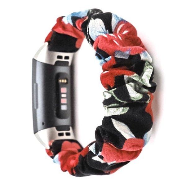 123Watches Fitbit Charge 3 & 4 Scrunchie Band - Rosen mischen