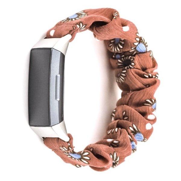 123Watches Fitbit Charge 3 & 4 Scrunchie Band - Gänseblümchen