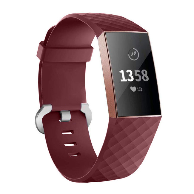 Fitbit Charge 3 & 4 Sportwaffelband - Weinrot