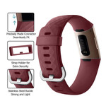 123Watches Fitbit Charge 3 & 4 Sportwaffelband - Weinrot