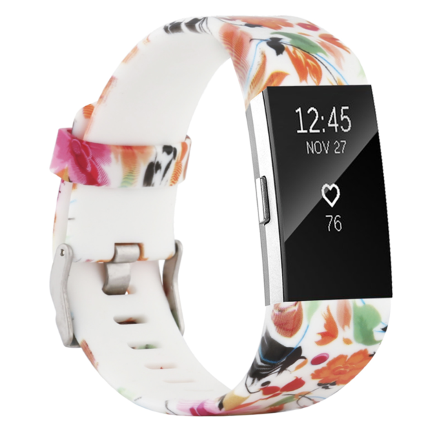 Marke 123watches Fitbit charge 2 print sport band - Blume mix