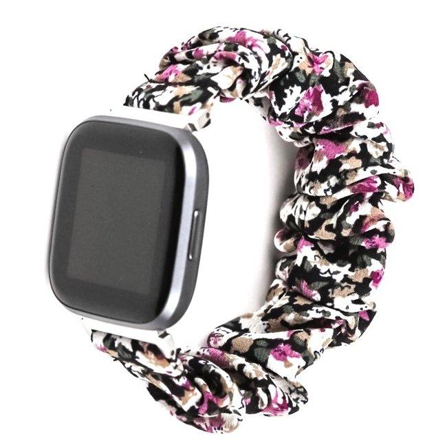 Marke 123watches Fitbit Versa Scrunchie Band - Blumen lila