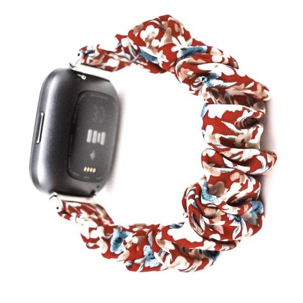 123Watches Fitbit Versa Scrunchie Band - Blumen rot
