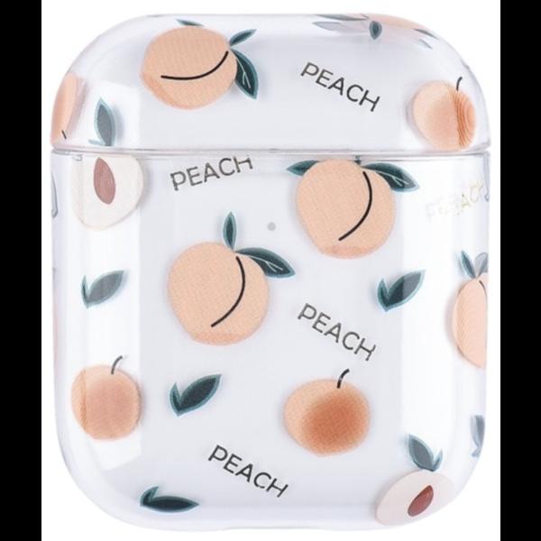 123Watches Apple AirPods 1 & 2 transparente lustige Hartschale - Pfirsich