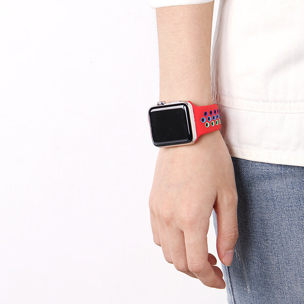 123Watches Apple watch doppelt sport band - buntes Rot