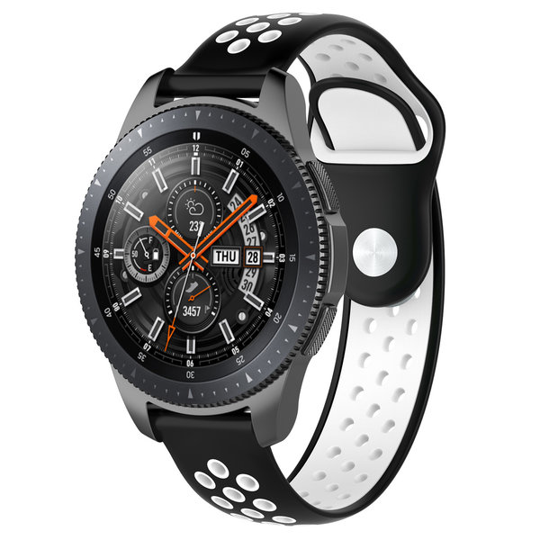 123Watches Garmin Vivoactive / Vivomove Silikon Doppelband - schwarz weiß