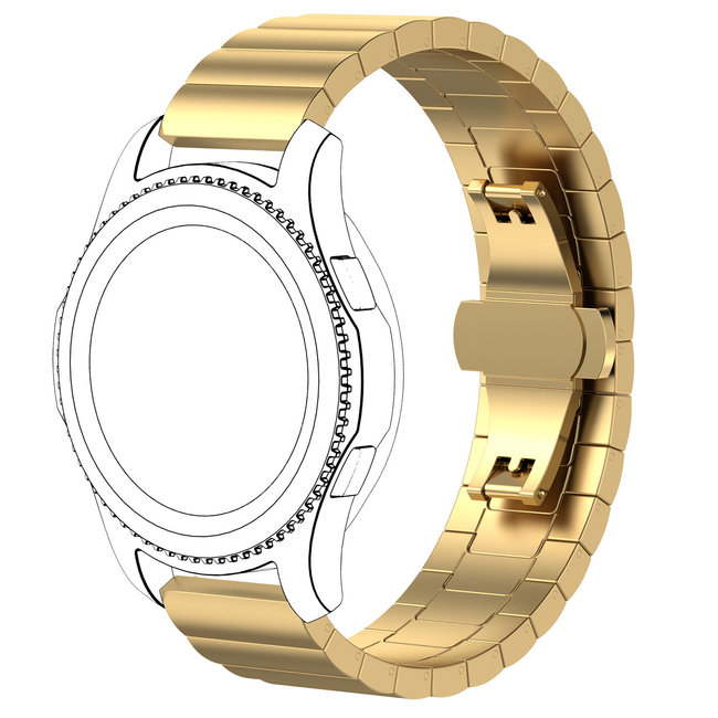 Marke 123watches Garmin Vivoactive / Vivomove Stahlgliedband - Gold