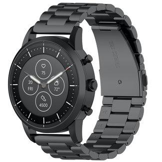123watches Garmin Vivoactive / Vivomove drei Stahlgliederperlenband - schwarz