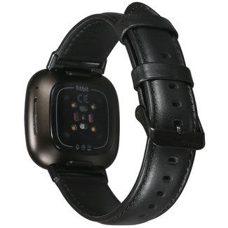 123watches Fitbit Versa 3 / Sense genuine Lederband - schwarz