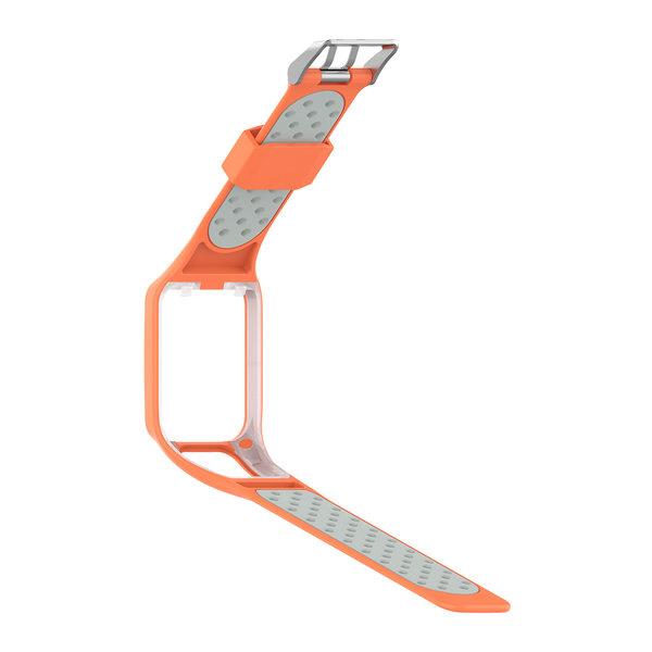 123Watches TomTom Runner / Spark / Adventure Silikon Doppelschnallenriemen - Orange Grau