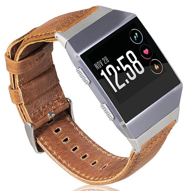 Marke 123watches Fitbit Ionic genuine Lederband - Hellbraun