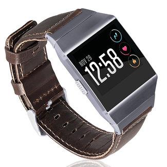 Marke 123watches Fitbit Ionic genuine Lederband - dunkelbraun