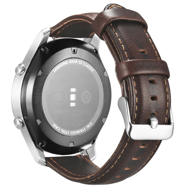 123watches Garmin Vivoactive / Vivomove genuine Lederband - dunkelbraun