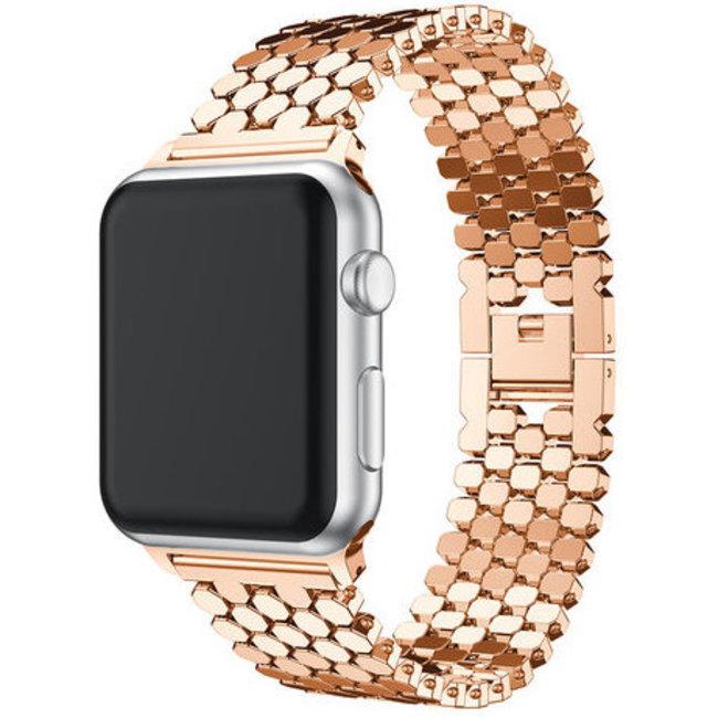 Marke 123watches Apple watch Fischstahl Gliederband - rotgold