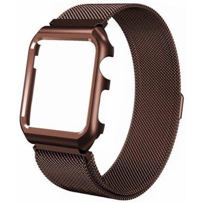 123watches Apple watch milanese case band - braun