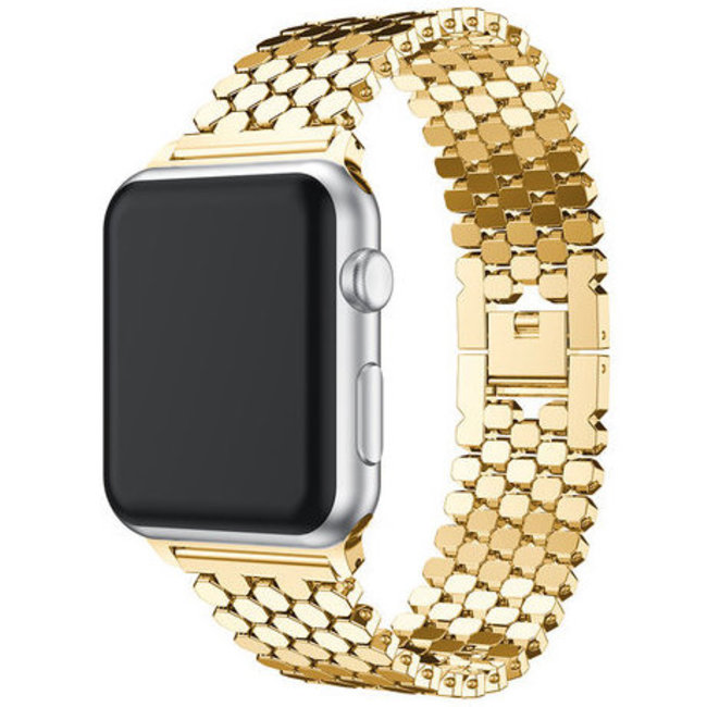 Marke 123watches Apple watch Fischstahl Gliederband - Gold