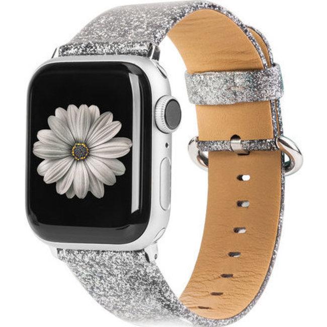 Marke 123watches Apple Watch Leder Glitzer Riemen - Silber
