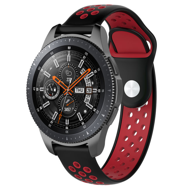 123watches Polar Ignite Silikon Doppelband - schwarz rot