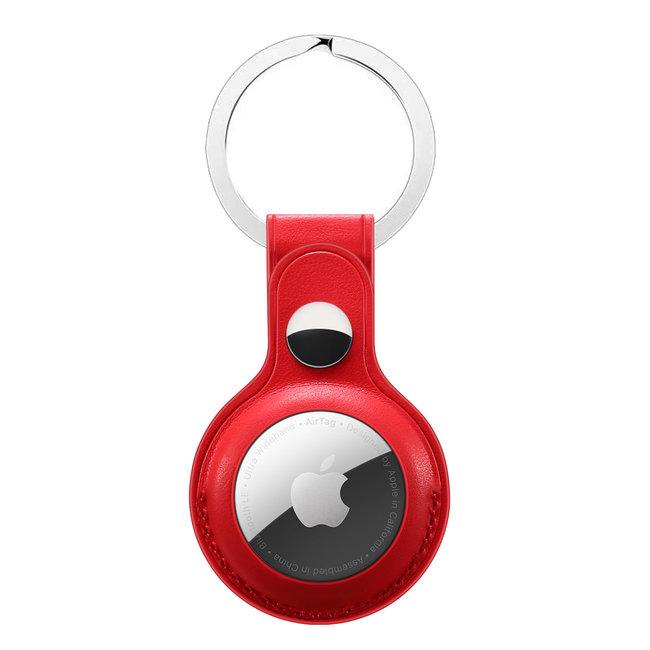 AirTag Leder Schlüsselanhänger - rot