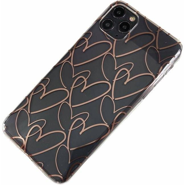 Apple iPhone 11 Pro Max - Silikon Herzs weich Hülle Amy transparent Bronze